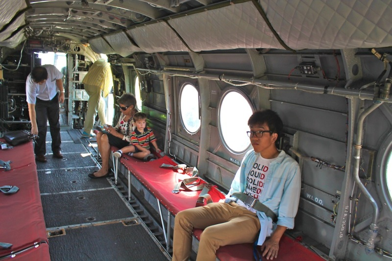 sitting inside of the big combat planes