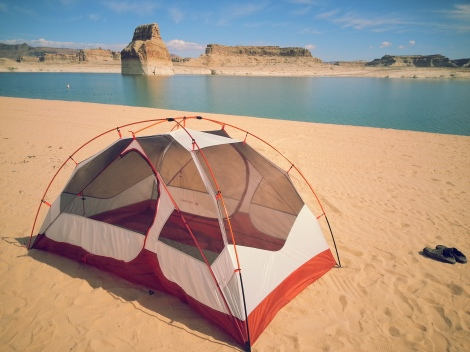 my tent right on the beach