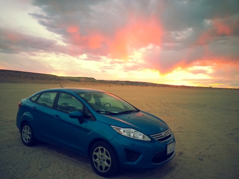 sunset over my car!