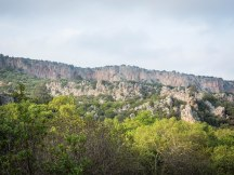 You can see the main climbing crags from left to right - Sakrit, Magara, Anatolia, Ottoman, Melva, Barbarossa, Echoes.