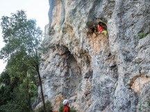 Joy climbing a stout 6A at Trebenna West Extension